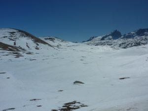 Plateau d'Emparis le 21 avrill 2017 au fond les Aiguilles d'Arves